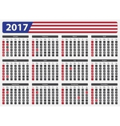 Usa calendar 2017 - official holidays vector