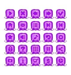 Cute cartoon violet buttons set vector
