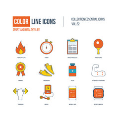 Color line icons set healthy lifestyle and sport vector