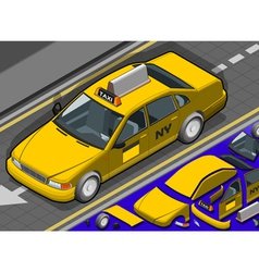 Isometric yellow taxi in front view vector