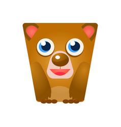 Cute friendly geometric bear colorful cartoon vector
