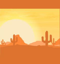 Western desert landscape at sunset vector
