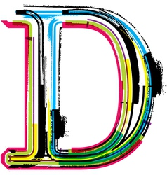 Grunge colorful font letter d vector