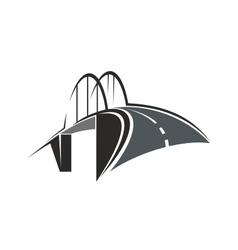 Arch bridge and road icon vector image