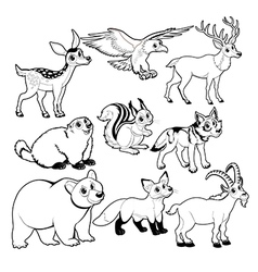 Wood and mountain animals in Black and white vector image