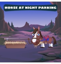 Horse at night parking in the wild west vector