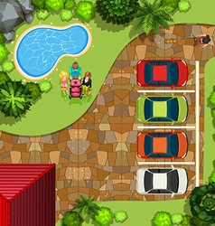 Top view park with people and cars vector