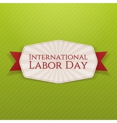 International labor day white banner with ribbon vector