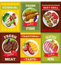 Barbecue mini posters set vector