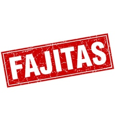 Fajitas red square grunge stamp on white vector