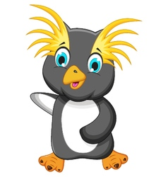 Funny king penguin cartoon vector