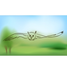 Flying owl with outstretched wings vector