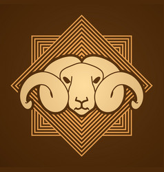 Angry sheep face head with big horn vector