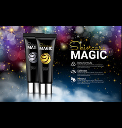 black cream bottles on black magic background vector image