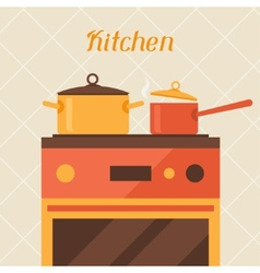 Card with kitchen oven and cooking utensils in vector
