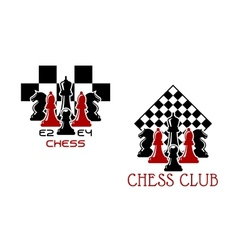 Chess club sport emblems or symbols vector