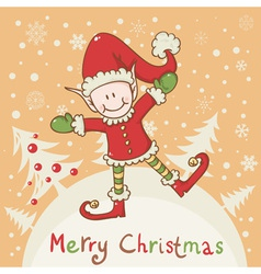 Christmas card with cute little elf Santa helper vector image vector image
