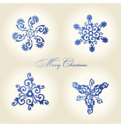 Christmas snowflakes vintage decor vector image