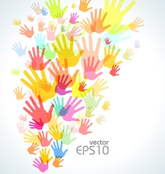 Colorful hand print background vector image vector image