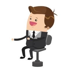 Cute businessman cartoon laughing on chair icon vector