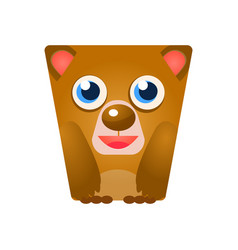 cute friendly geometric bear colorful cartoon vector image