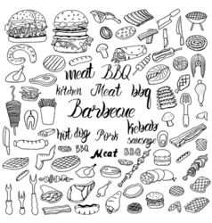 doodle BBQ party icons set vector image