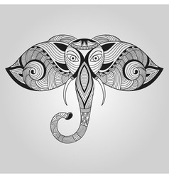 Doodle elephant tattoo style vector