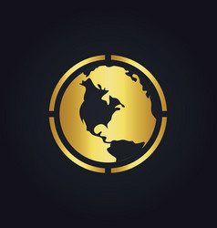Earth globe round gold logo vector