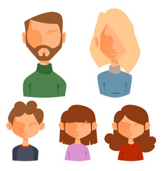 eemotion family people faces cartoon avatar vector image vector image