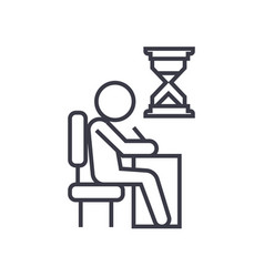 examing test writing man at desk linear icon vector image vector image