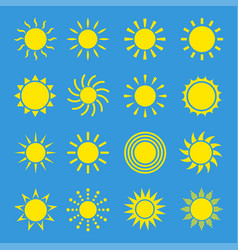 icons of sun set vector image vector image