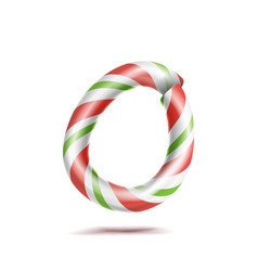 letter o 3d realistic candy cane alphabet vector image vector image