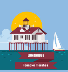 lighthouse roanoke marshes lighthouse lighthouse vector image