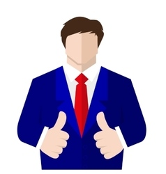 Man in suit shows a sign thumb up vector