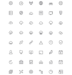 Network and cloud services icon set vector image