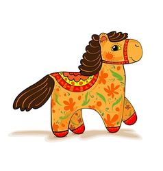 Orange horse figurine vector
