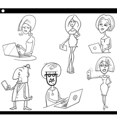 people and technology cartoon set vector image vector image