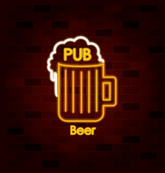 pub beer on neon sign on brick wall vector image