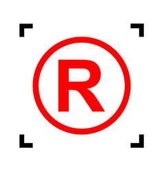 Registered trademark sign red icon inside vector
