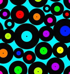 Seamless pattern of vinyl discs vector