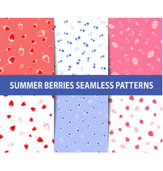 set of summer berries seamless patterns vector image