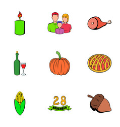 thanksgiving day icons set cartoon style vector image