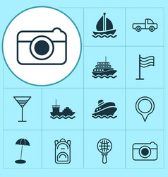 Tourism icons set with cargo boat globe search vector