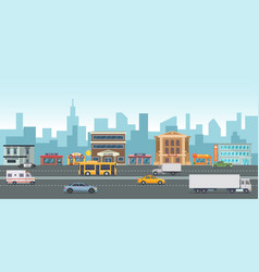 urban landscape with modern buildings and market vector image vector image