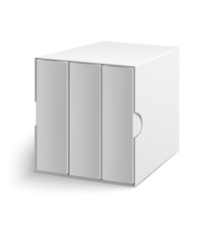 White gray box cover with group of blank books vector image vector image
