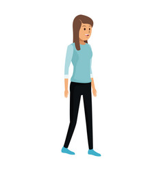 Young woman standing with blue tshirt vector