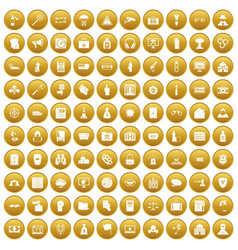 100 crime icons set gold vector