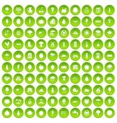 100 productiveness icons set green circle vector