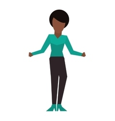 Dark skin faceless woman icon vector