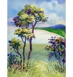 Watercolor natural summer wood landscape vector image